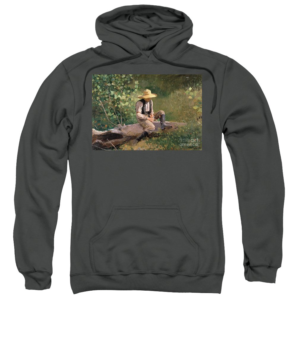 The Whittling Boy Sweatshirt featuring the painting The Whittling Boy by Winslow Homer
