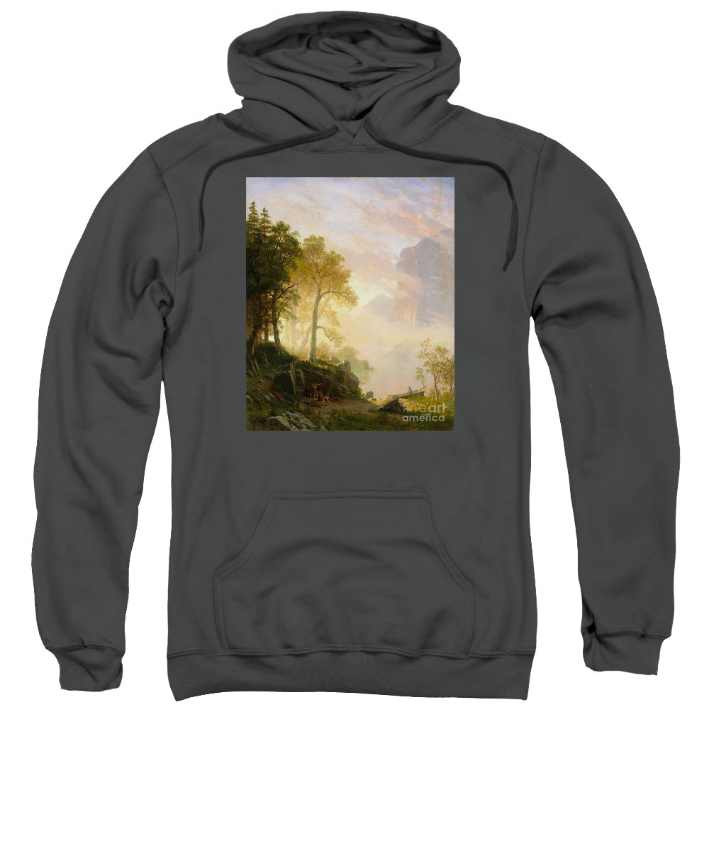 Albert_bierstadt_-_the_merced_river_in_yosemite Sweatshirt featuring the painting The_merced_river_in_yosemite by Celestial Images