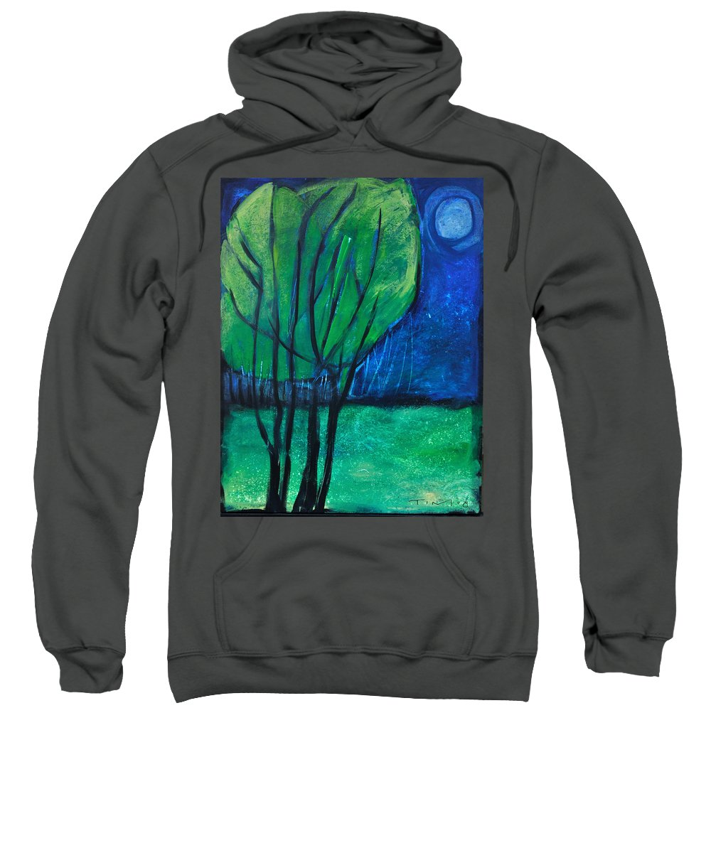 Trees Sweatshirt featuring the painting Then Came Evening by Tim Nyberg