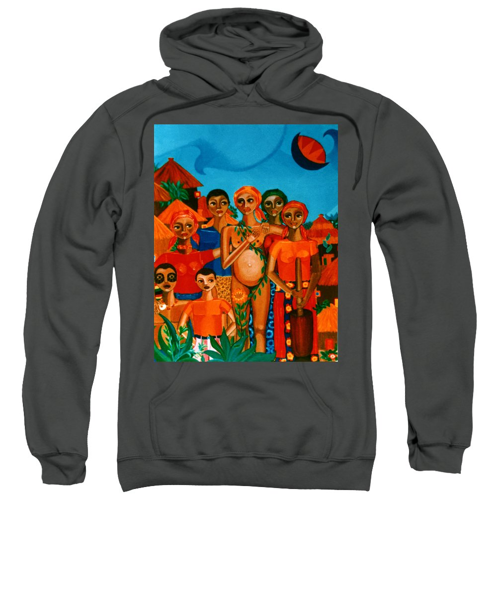 Pregnant Women Sweatshirt featuring the painting There Are Always Sunflowers For Those Waiting A New Life by Madalena Lobao-Tello