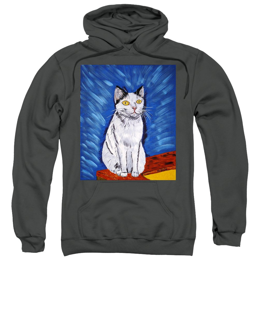 Cat Sweatshirt featuring the painting There Is A Bird by Valerie Ornstein