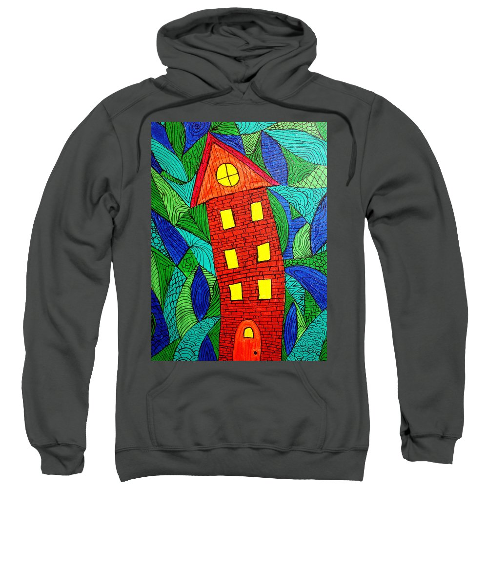 Geometric Patterns Sweatshirt featuring the painting There Was A Crooked House by Wayne Potrafka