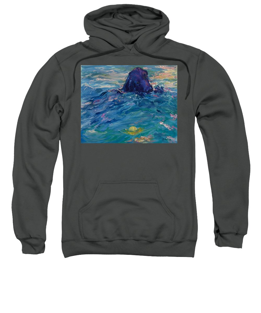 Lbrador Retriever Sweatshirt featuring the painting There You Are by Sheila Wedegis