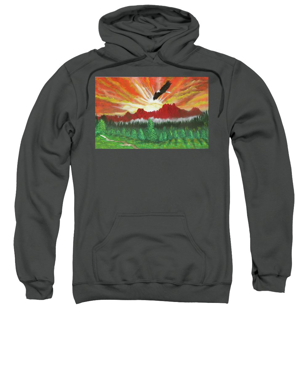 Acrylic Sweatshirt featuring the painting They That Wait Upon The Lord  Isa 40 31 by Laurie Kidd