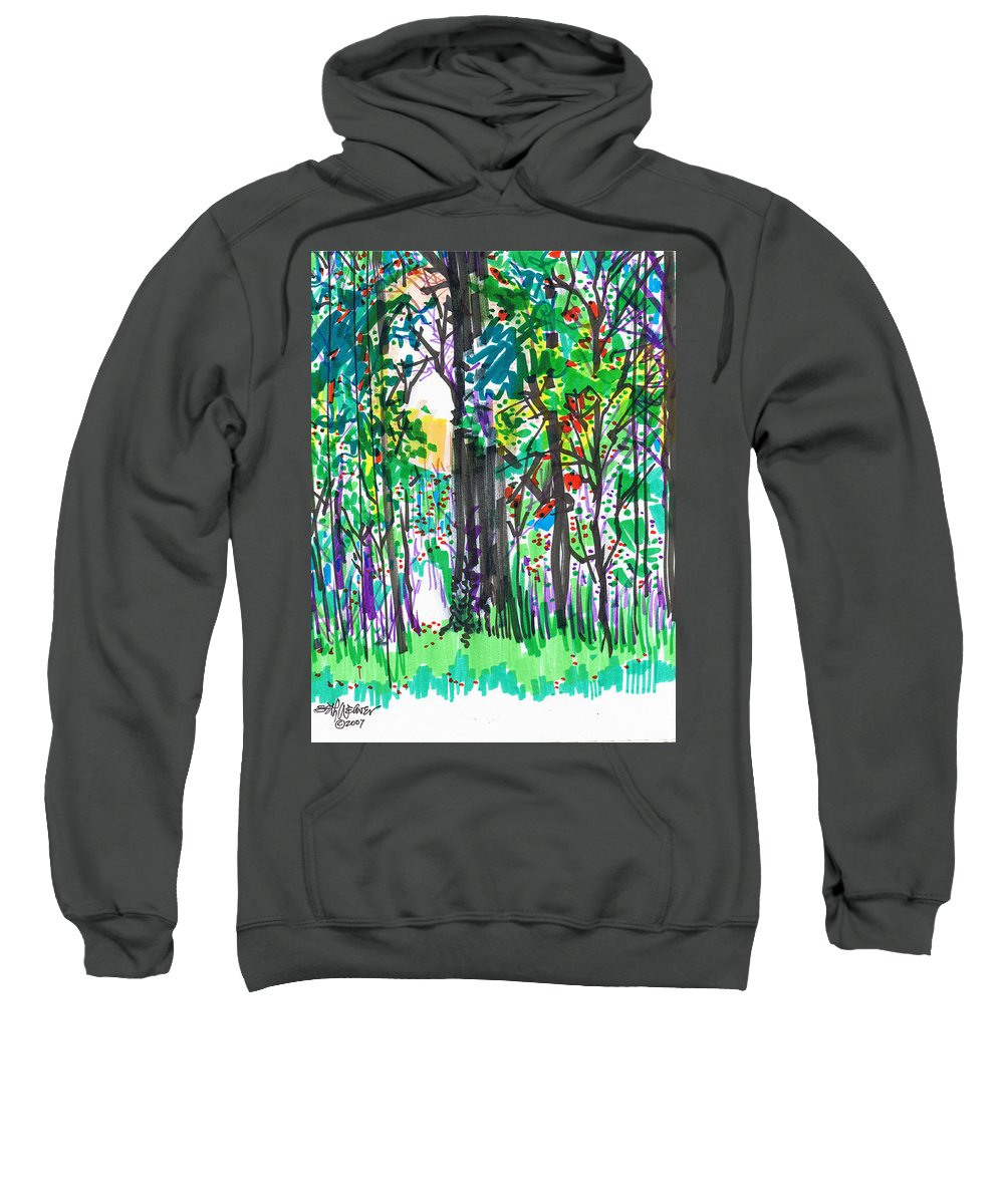 Forest Sweatshirt featuring the drawing Thicket by Seth Weaver