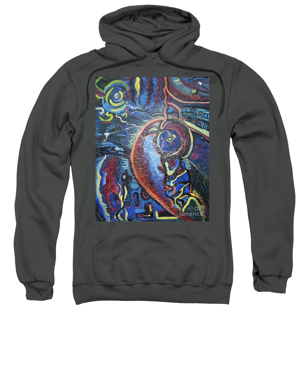 Abstract Contemporary Home Blue Oil Canvas Board Sweatshirt featuring the painting Thinking Of Home by Seon-Jeong Kim