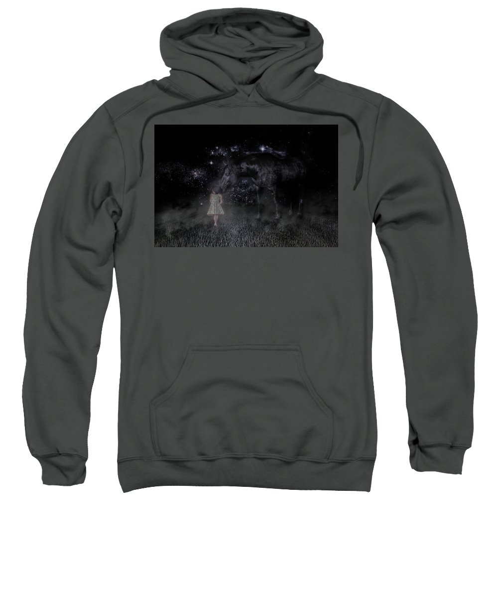 Horse Sweatshirt featuring the digital art Thinking Of You by Betsy Knapp