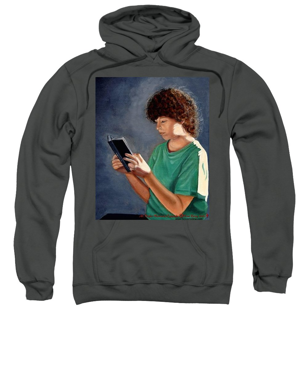 Portrait Sweatshirt featuring the painting Thirst For Knowledge by Toni Berry