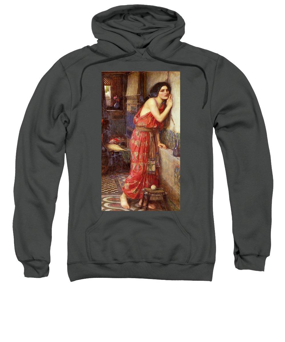 John William Waterhouse Sweatshirt featuring the painting Thisbe by John William Waterhouse