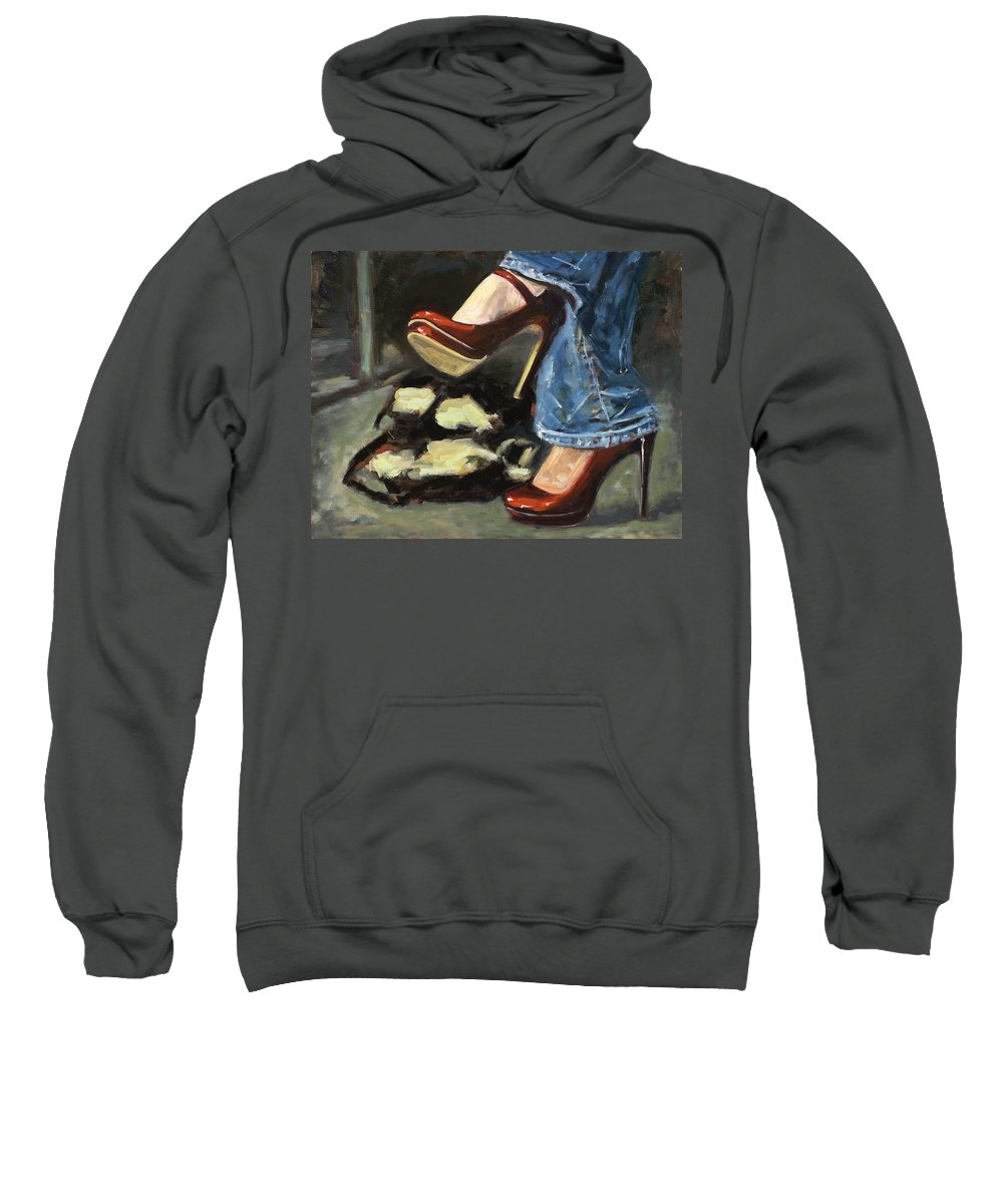 High Heels Sweatshirt featuring the painting Those Shoes by Edward Mallory