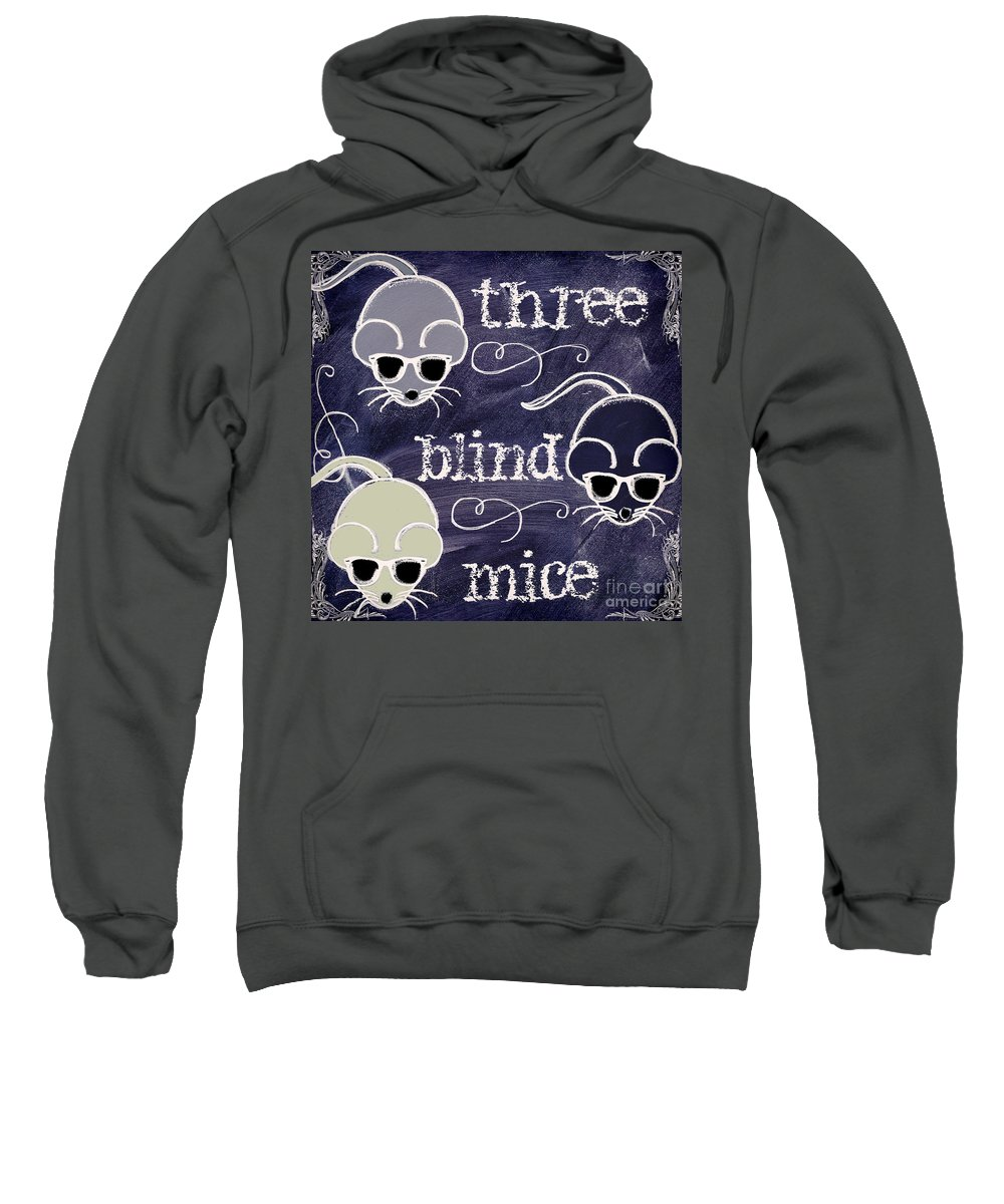 Chalk Board Art Sweatshirt featuring the painting Three Blind Mice Children Chalk Art by Mindy Sommers