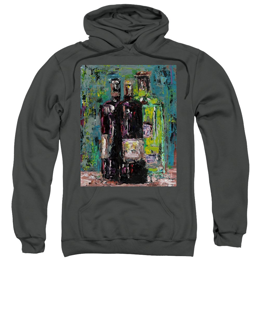 Wine Sweatshirt featuring the painting Three Bottles Of Wine by Frances Marino