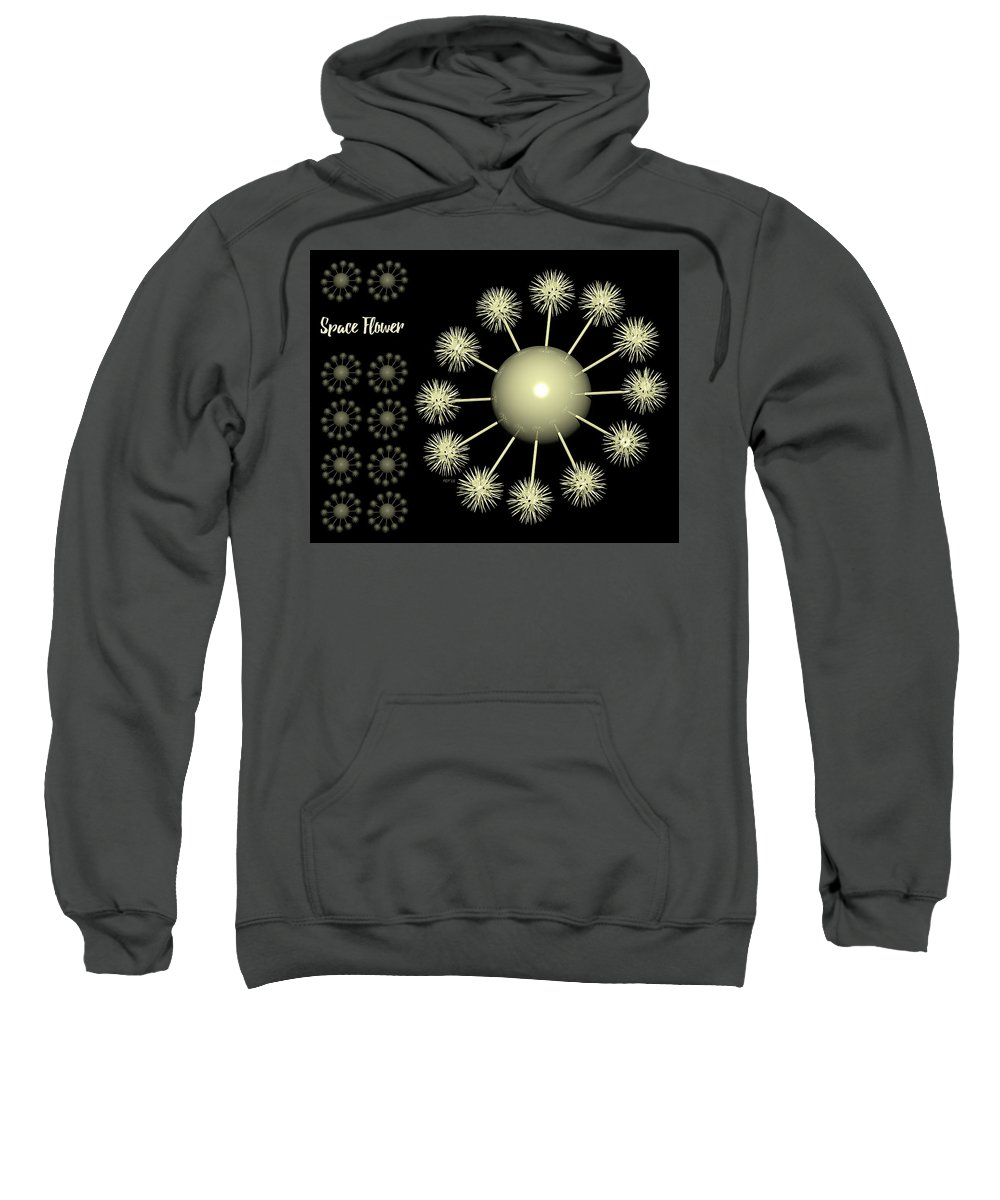 Three Dimensional Sweatshirt featuring the digital art Three Dimensional Space Flower by Phil Perkins