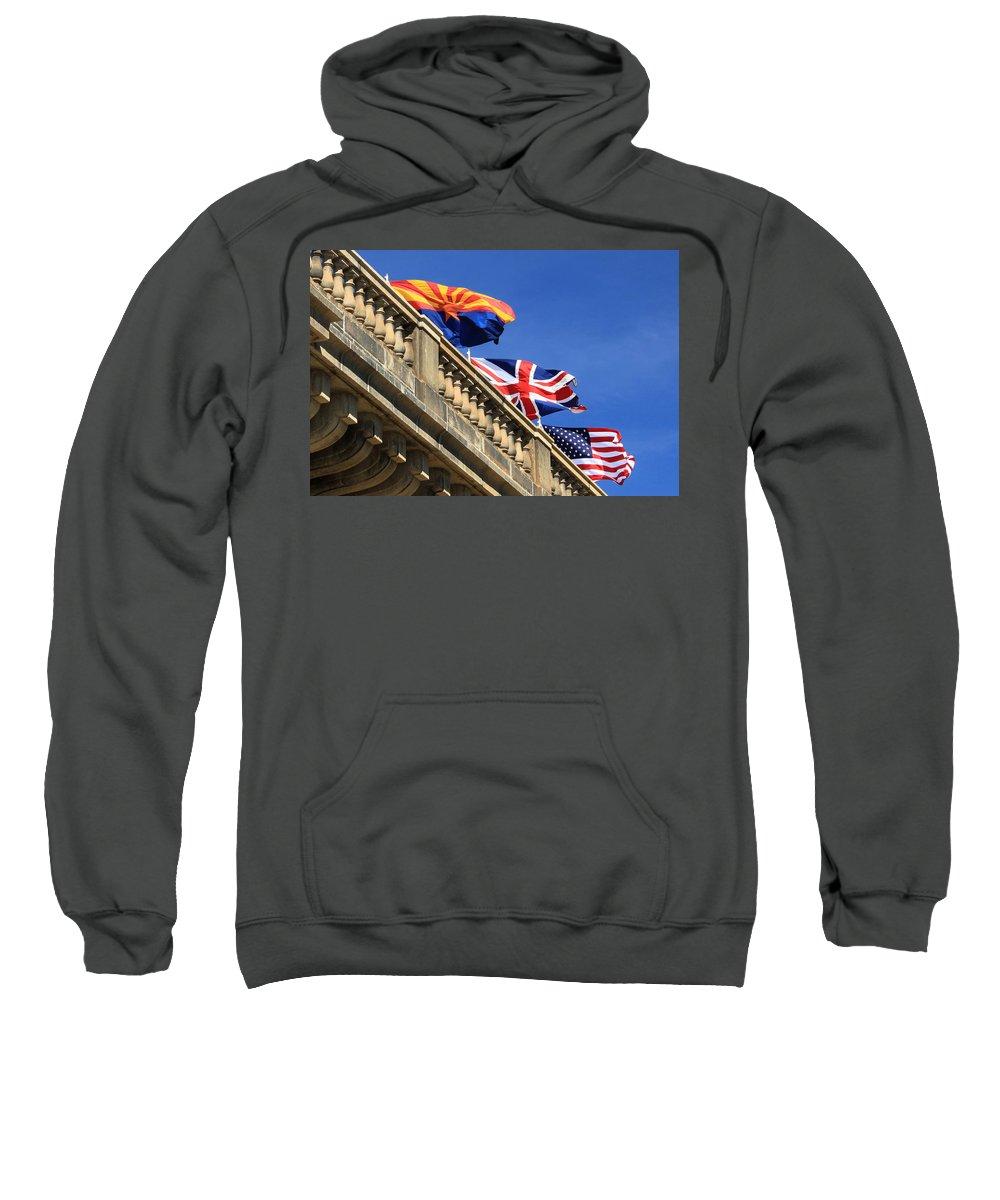 London Bridge Sweatshirt featuring the photograph Three Flags At London Bridge by James Eddy