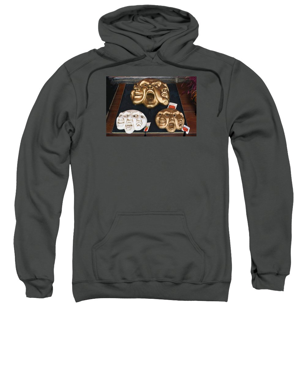 Masks Sweatshirt featuring the photograph Three Masks For Sale, Venice by Dan Nourie