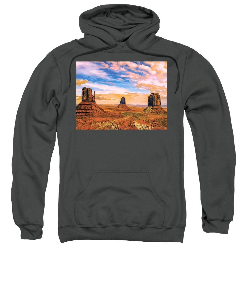 Mesa Sweatshirt featuring the painting Three Mesas by Dominic Piperata