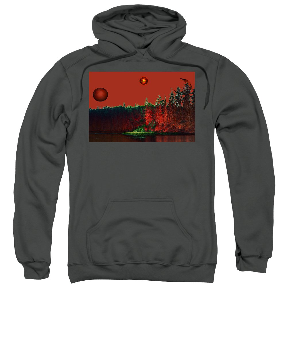 Red Planet Sweatshirt featuring the photograph Three Moons by Andrea Lawrence