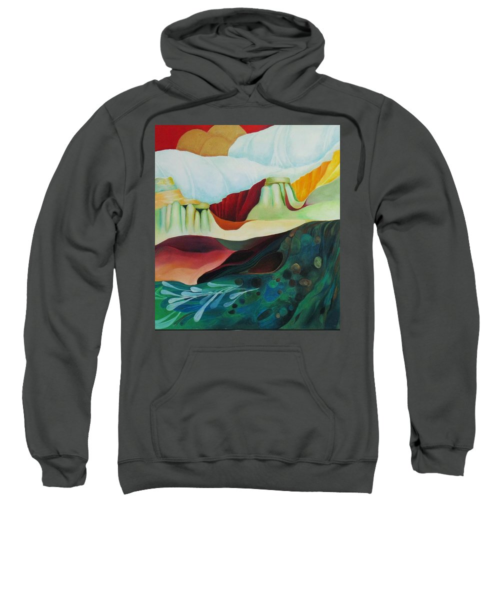 Landscape Sweatshirt featuring the painting Three Moons by Peggy Guichu