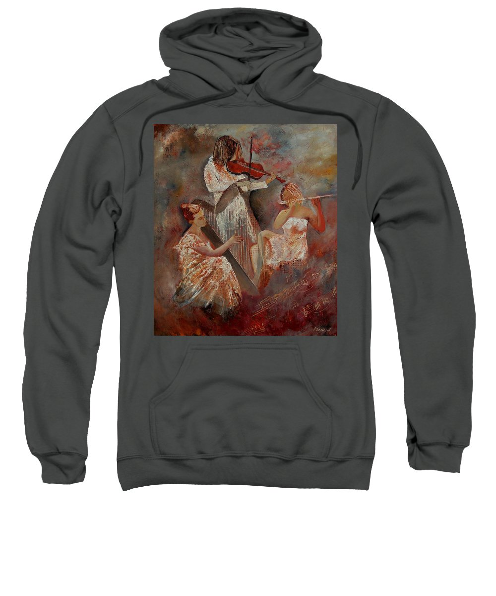 Music Sweatshirt featuring the painting Three Musicians by Pol Ledent