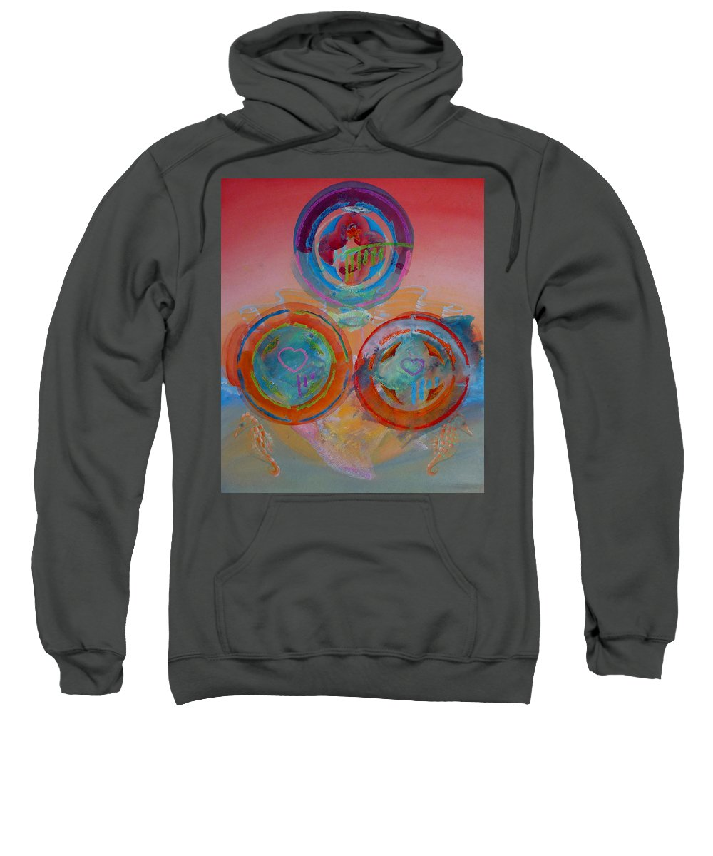 Logo Sweatshirt featuring the painting Three On Marine by Charles Stuart