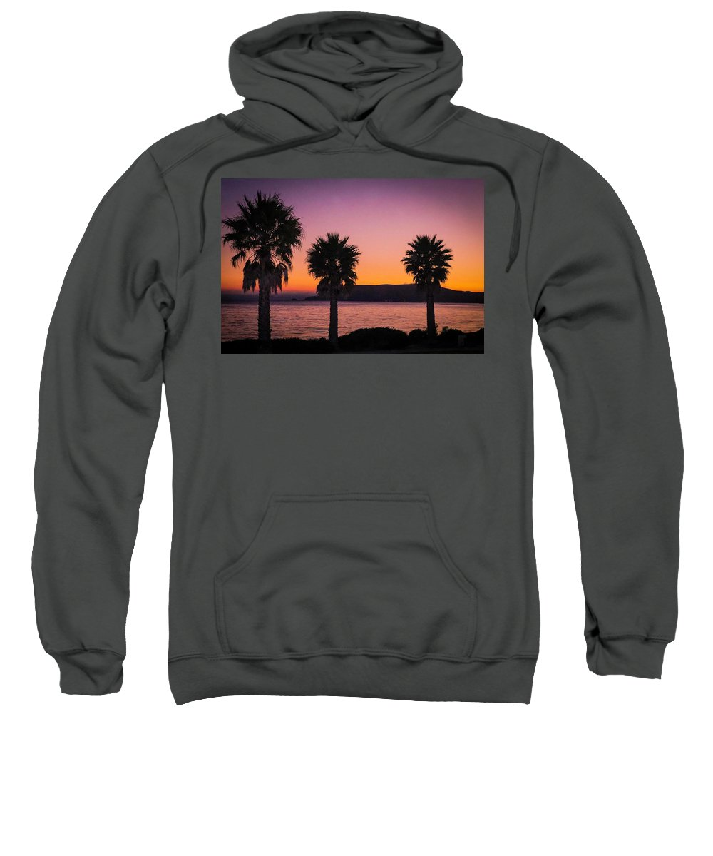Three Palms Sweatshirt featuring the photograph Three Palms by Janine Moore