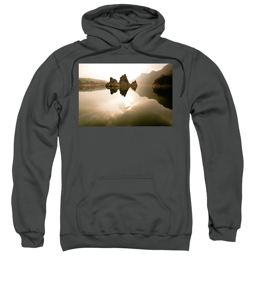 Asia Sweatshirt featuring the photograph Three Peaks by Michele Burgess