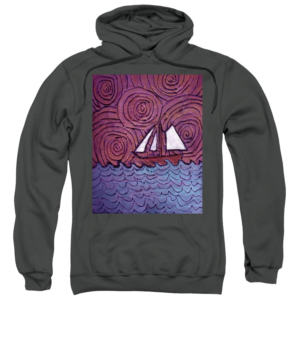 Sailing Sweatshirt featuring the painting Three Sails And The Wind by Wayne Potrafka