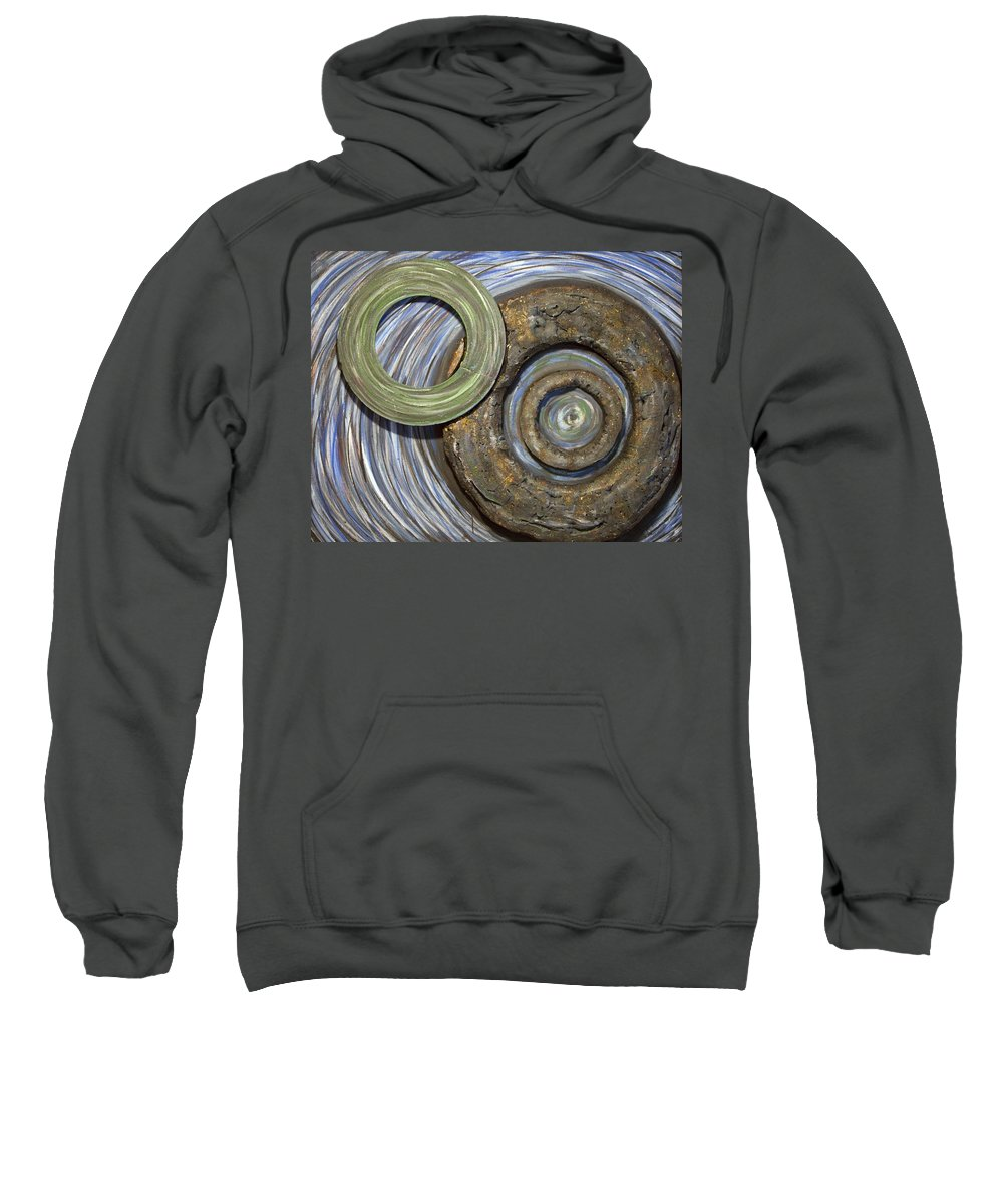 Circles Sweatshirt featuring the painting Threes A Crowd by Jacqueline Athmann