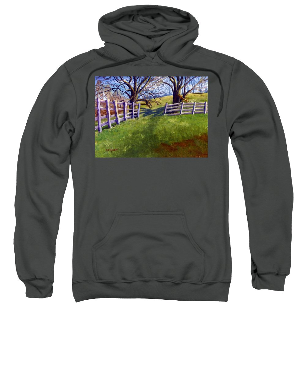Pasture Sweatshirt featuring the painting Throught The Pasture Gate by Sharon E Allen