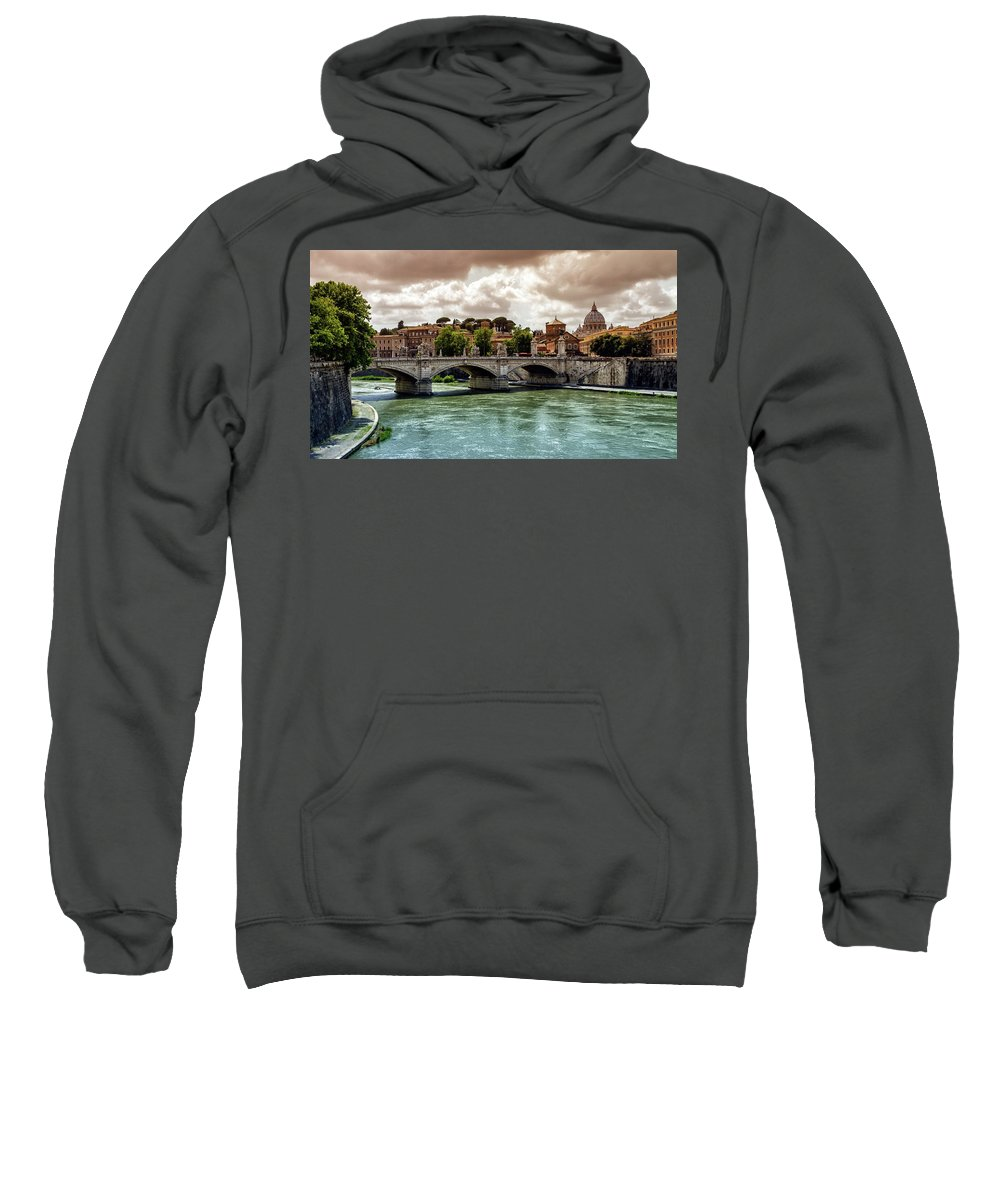 Rome Sweatshirt featuring the photograph Tiber River, Ponte Sant'angelo And St. Peter's Cathedral, Roma, Italy by Elenarts - Elena Duvernay photo