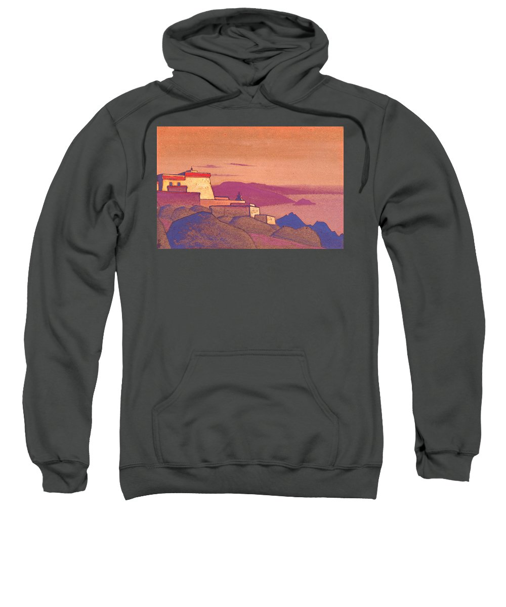 Architectural Sweatshirt featuring the painting Tibet, Gelukpa Monastery by Nicholas Roerich