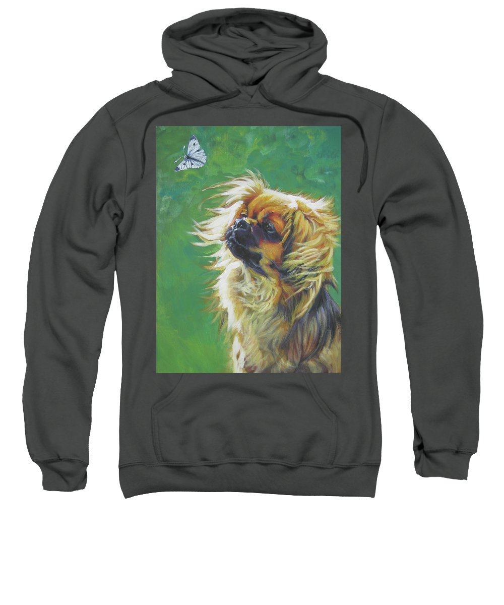 Tibetan Spaniel Sweatshirt featuring the painting Tibetan Spaniel And Cabbage White Butterfly by Lee Ann Shepard