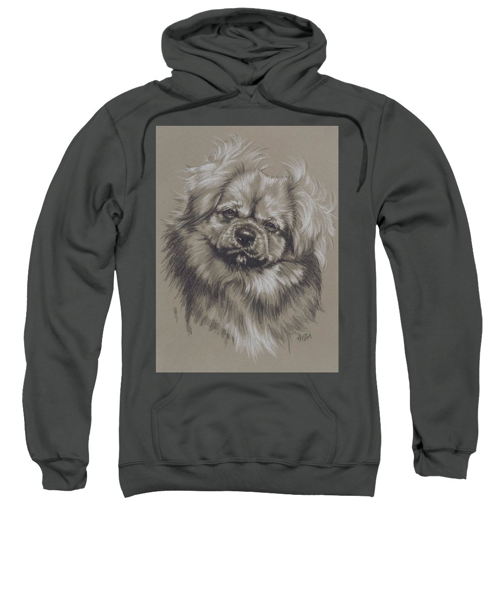 Purebred Sweatshirt featuring the drawing Tibetan Spaniel by Barbara Keith