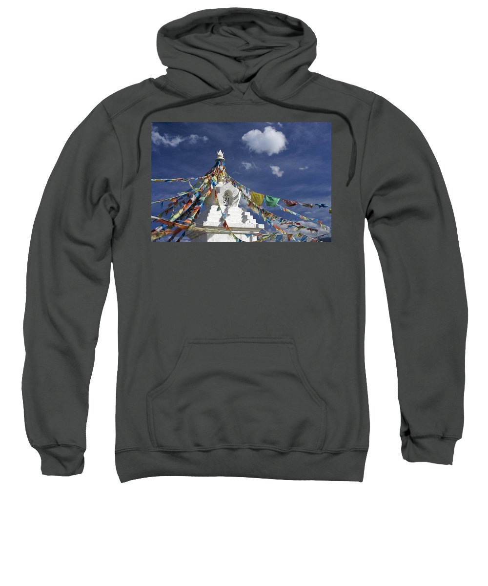 Asia Sweatshirt featuring the photograph Tibetan Stupa With Prayer Flags by Michele Burgess
