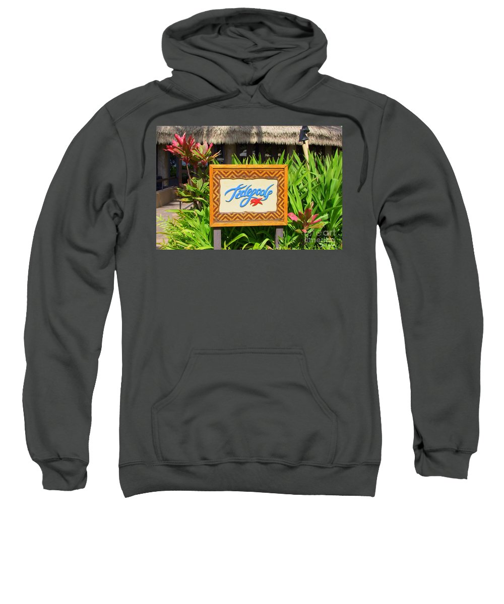 Tidepools Sweatshirt featuring the photograph Tidepools Restaurant by Mary Deal