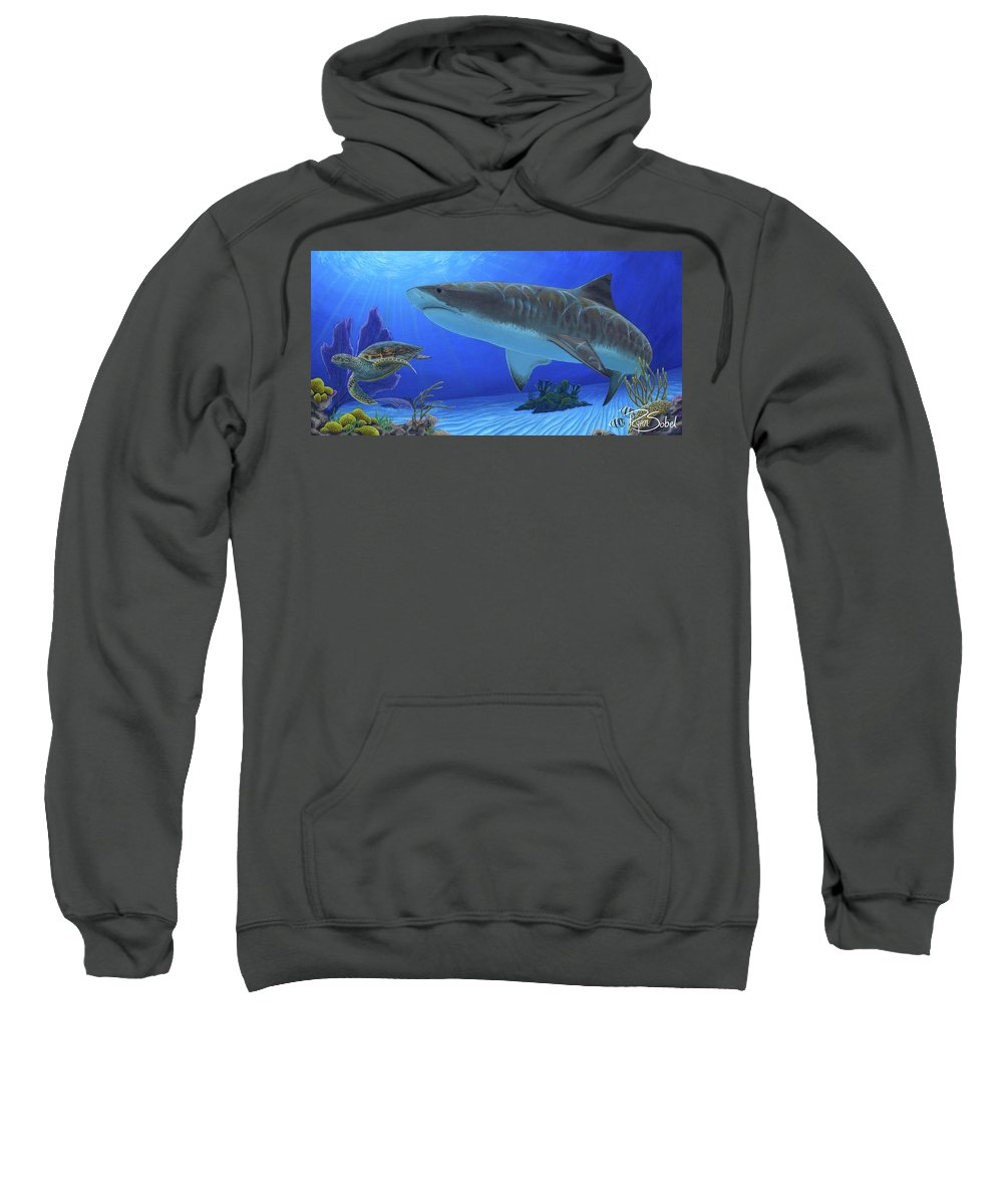 Tiger Sweatshirt featuring the painting Tiger Beach by Ryan Sobel