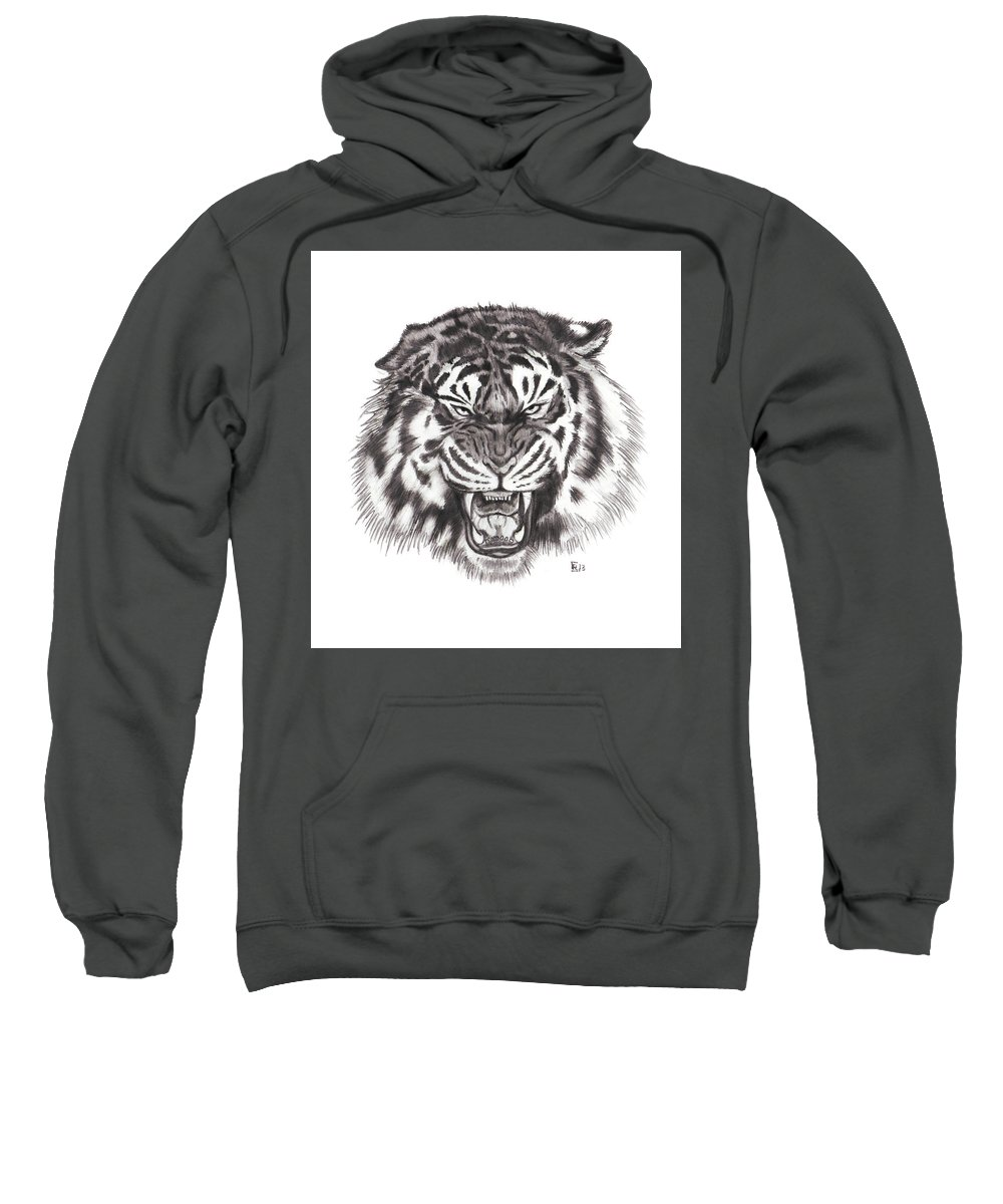 Tiger Sweatshirt featuring the drawing Tiger by Chris Randall