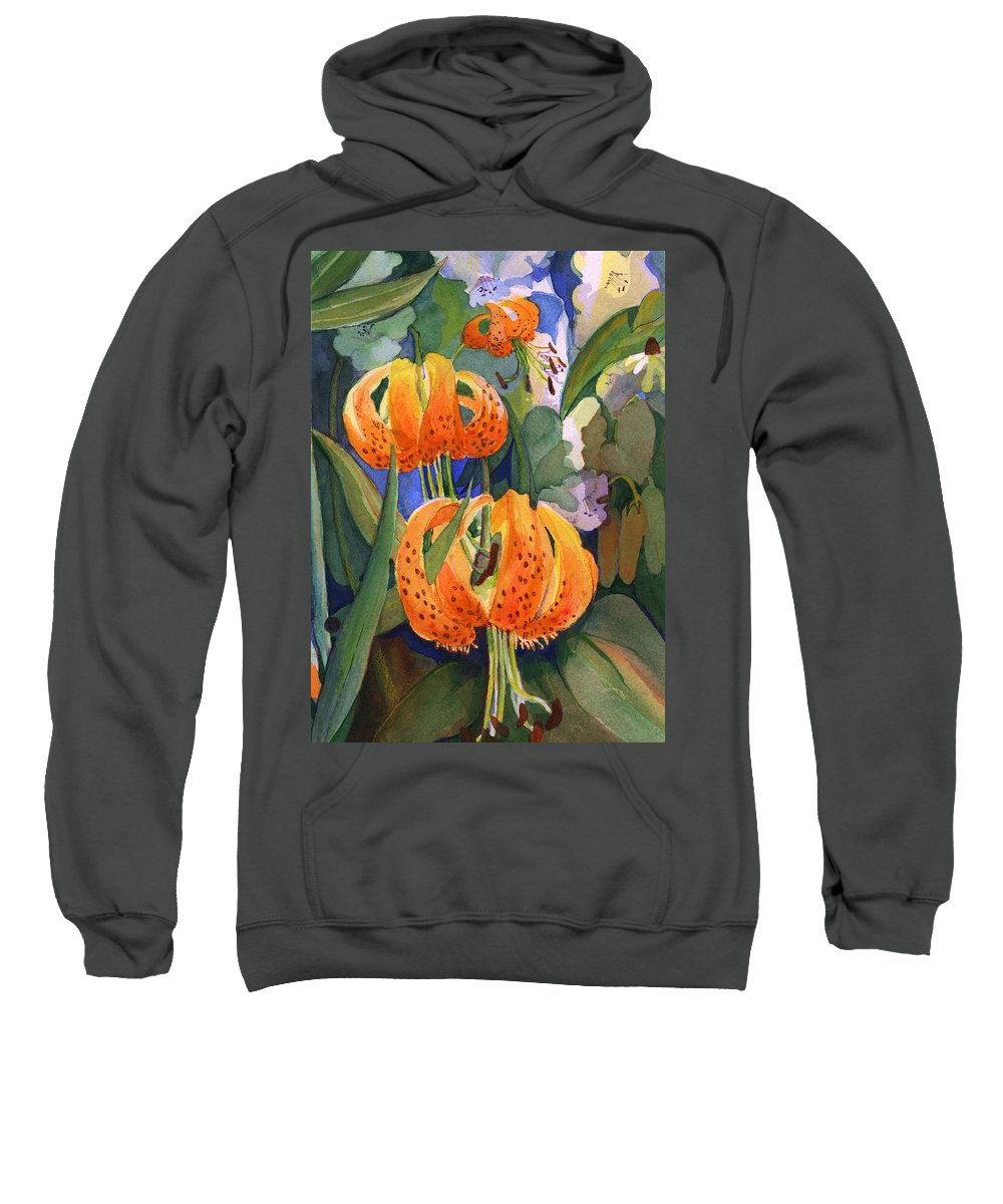 Flower Sweatshirt featuring the painting Tiger Lily Parachutes by Nancy Watson