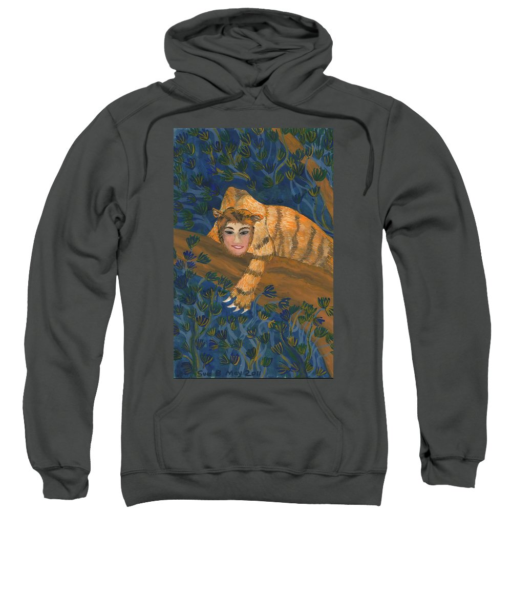 Sphinx Sweatshirt featuring the painting Tiger Sphinx by Sushila Burgess