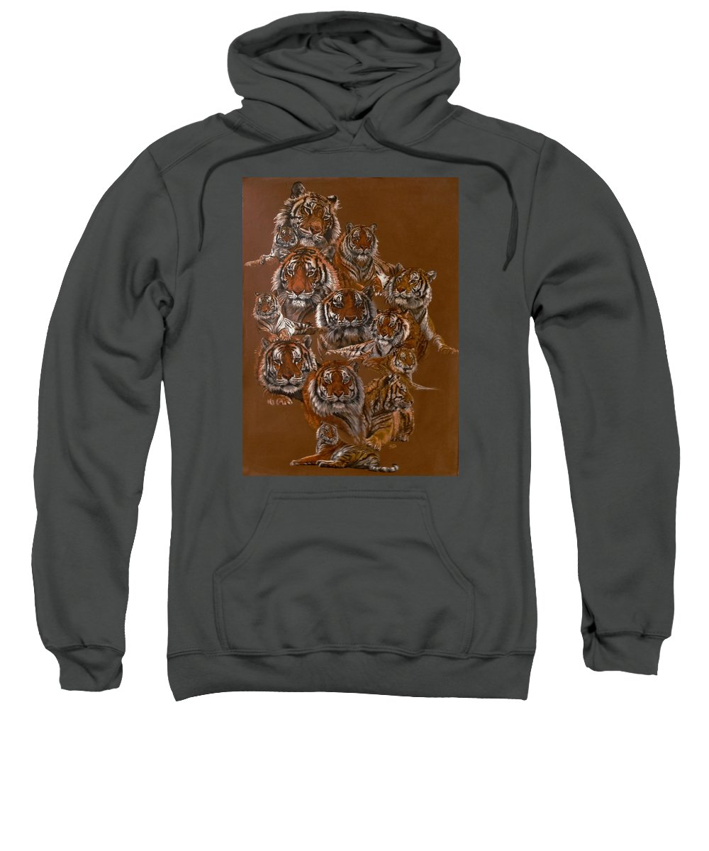 Tiger Sweatshirt featuring the drawing Tigers of Noah's Lost Ark Sanctuary by Barbara Keith