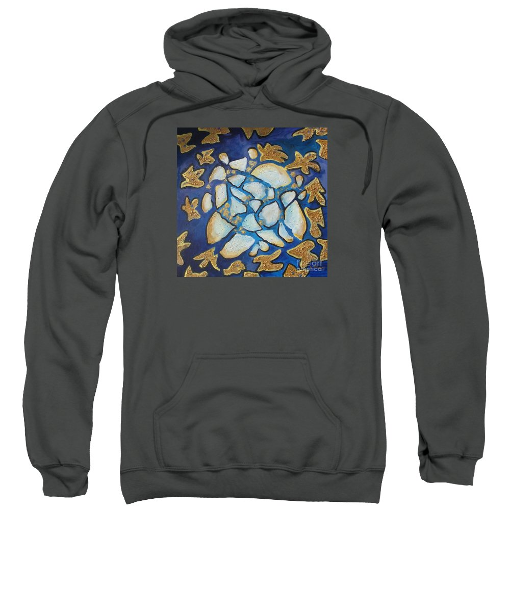 Abstract Sweatshirt featuring the painting Tikkun Olam Heal The World by Laurie Morgan