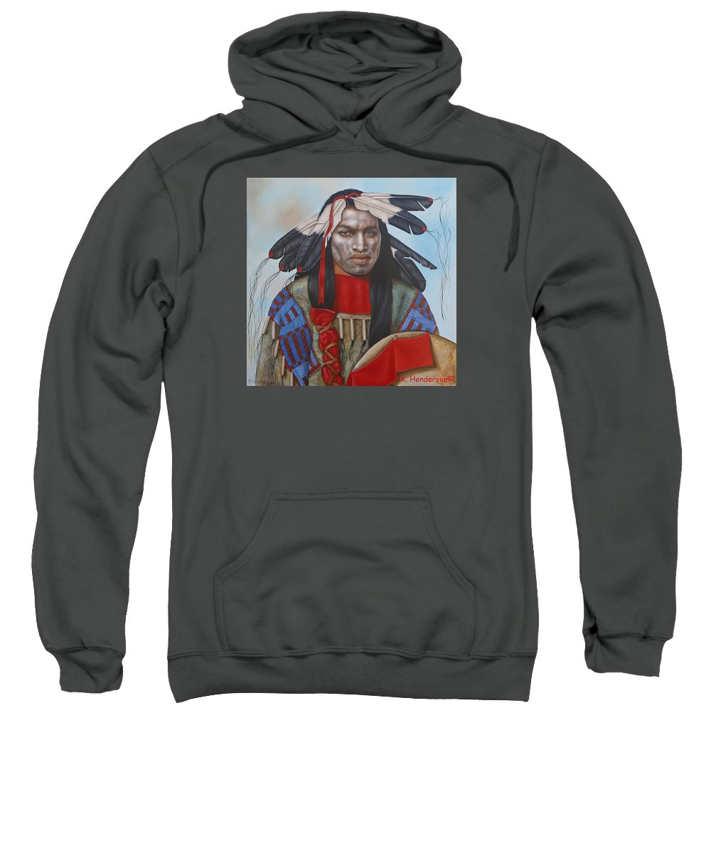 American Indian Sweatshirt featuring the painting Time Is At Hand by K Henderson