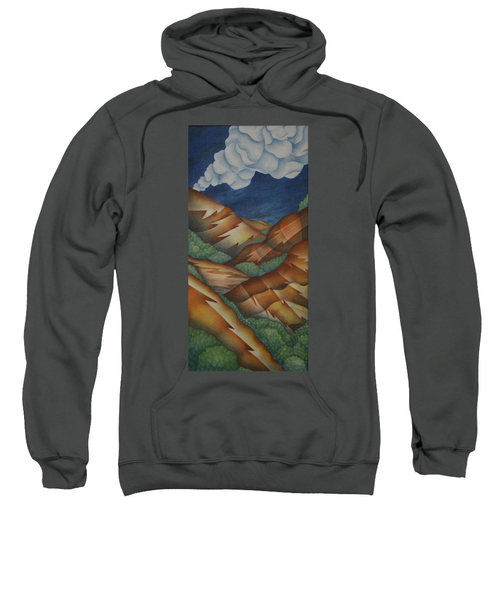 Mountains Sweatshirt featuring the painting Time To Seek Shelter by Jeniffer Stapher-Thomas