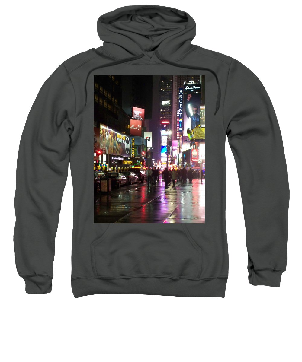 Times Square Sweatshirt featuring the photograph Times Square In The Rain 1 by Anita Burgermeister
