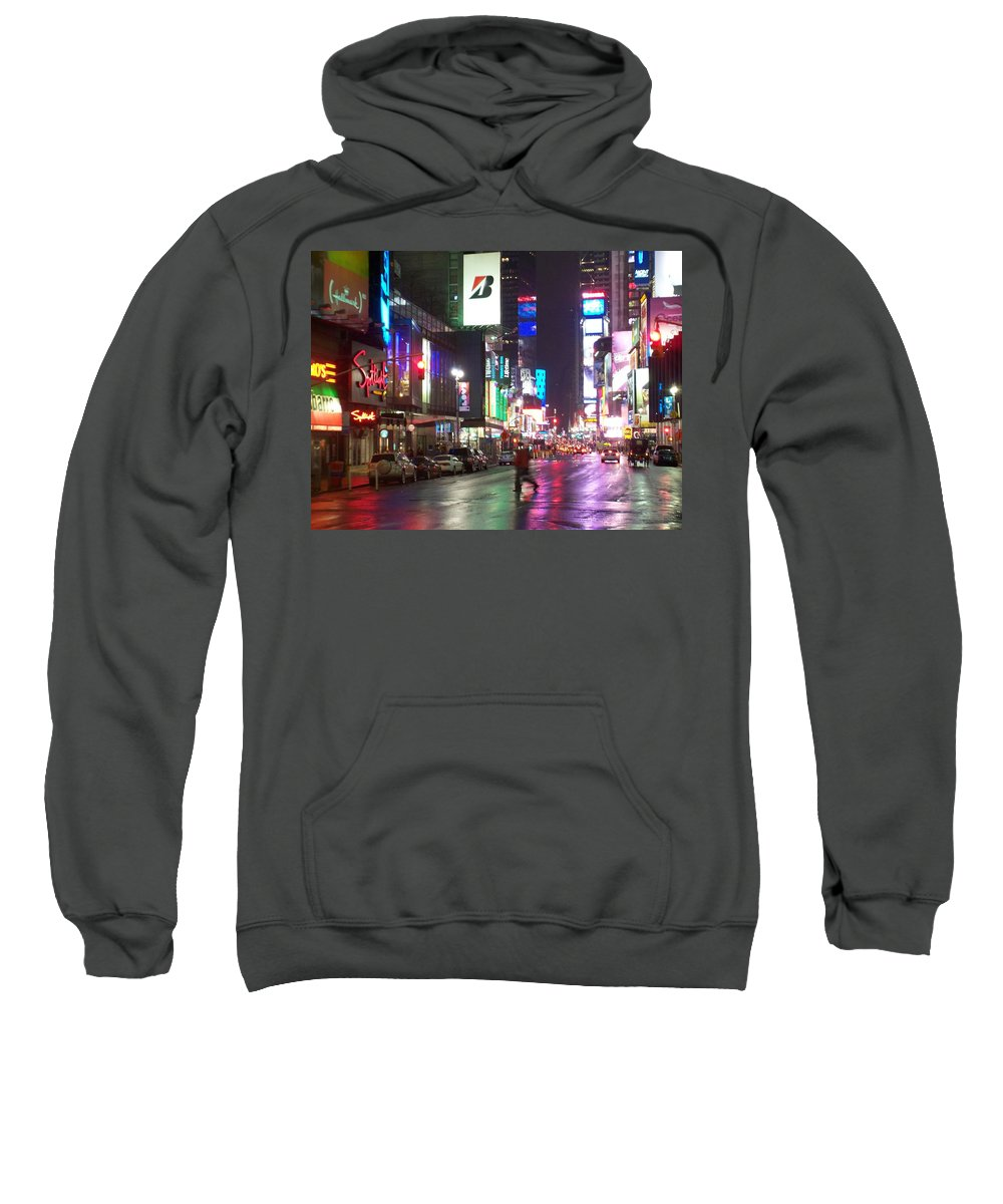 Times Square Sweatshirt featuring the photograph Times Square In The Rain 2 by Anita Burgermeister
