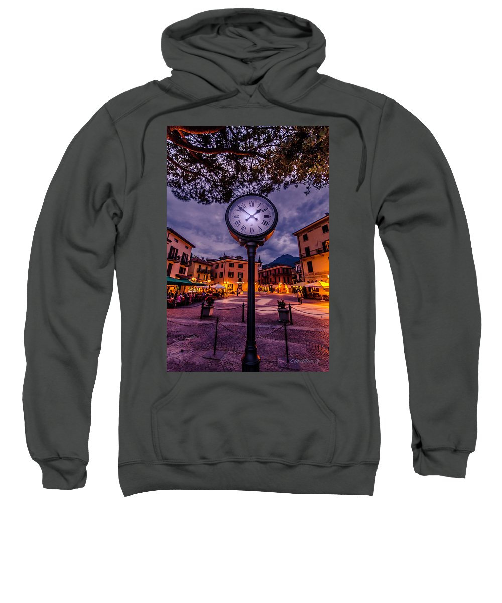 Lake Como Clock Sweatshirt featuring the photograph Timetocomo by Christian Goransson