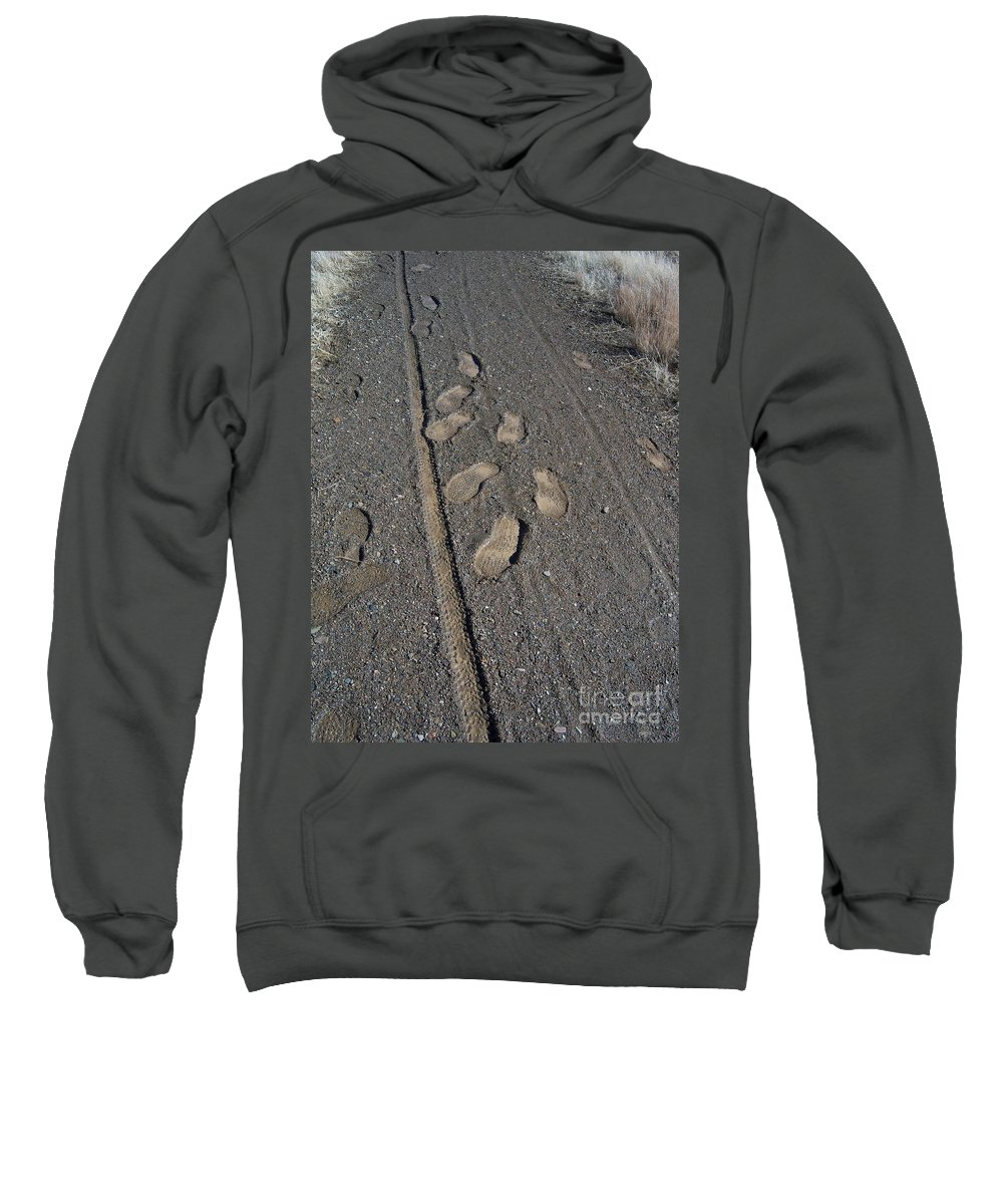 Prescott Sweatshirt featuring the photograph Tire Tracks And Foot Prints by Heather Kirk