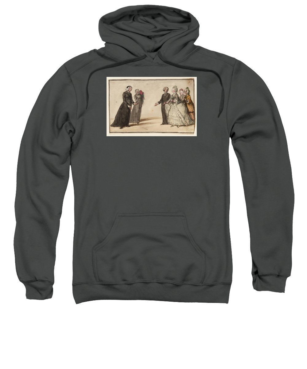 Susanna Duncombe (n�e Susanna Highmore) 1725�1812 Title Three Clergymen And Three Ladies In Conversation Sweatshirt featuring the painting Title Three Clergymen by MotionAge Designs