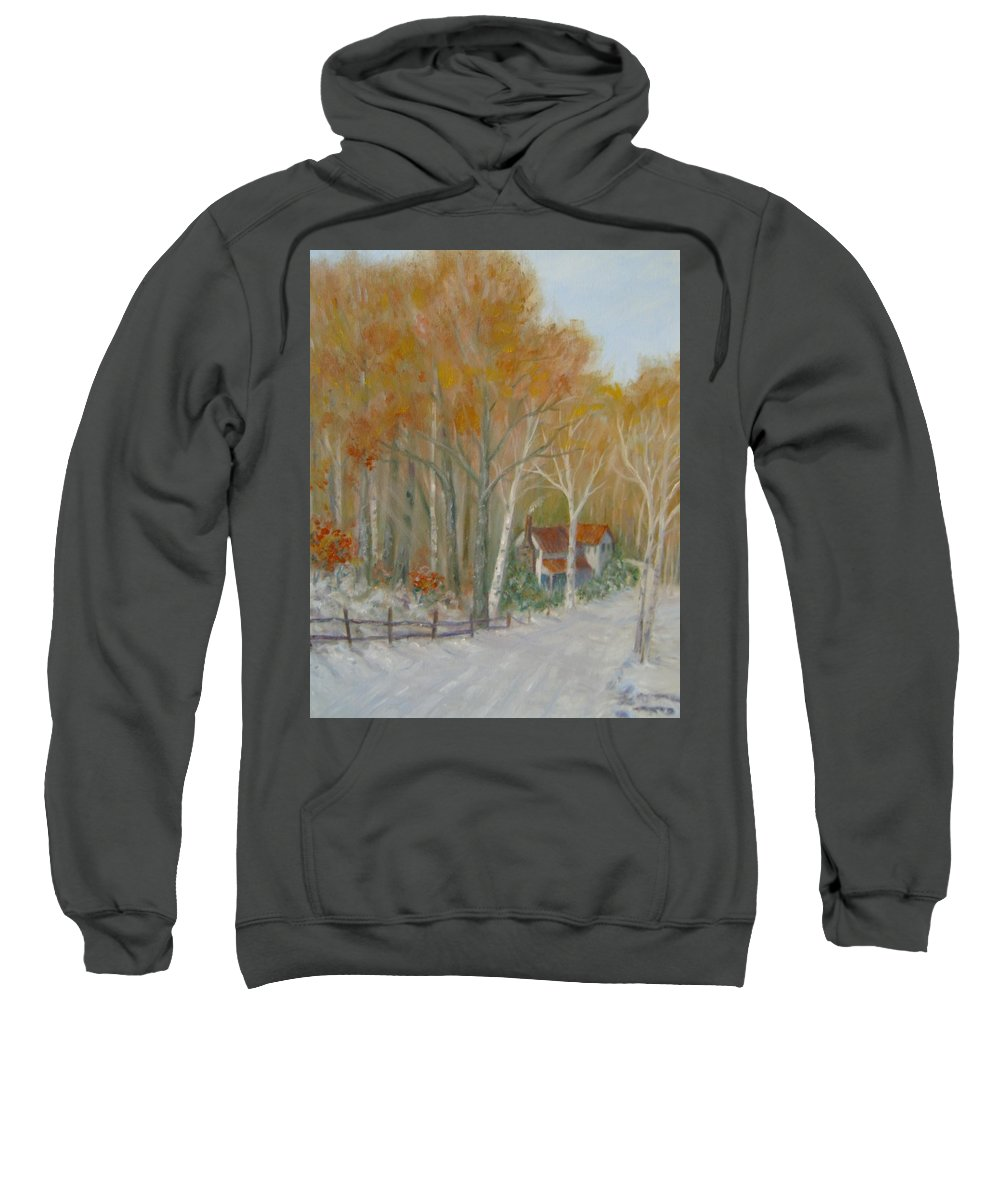 Country Road; House; Snow Sweatshirt featuring the painting To Grandma's House by Ben Kiger
