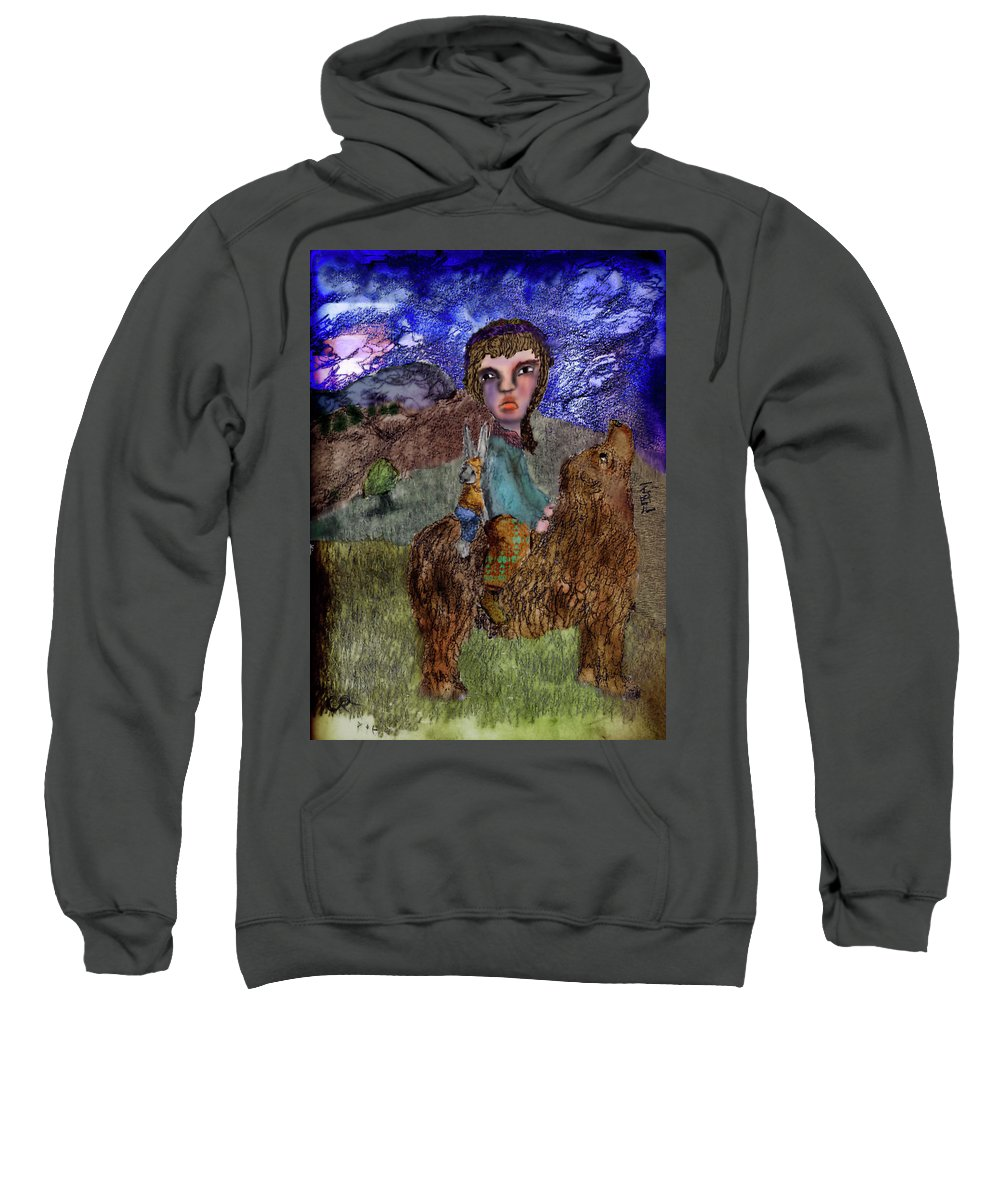 Bear Sweatshirt featuring the mixed media To Search For by Cynthia Richards